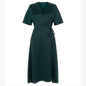 Satin Dark Green Wrap Dress